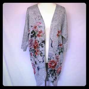 Ginger G Gray Open Front Cardigan Sweater Floral